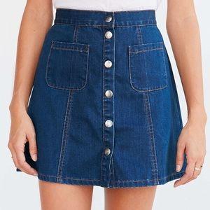 BDG Denim Button-Front Skirt Blue Denim